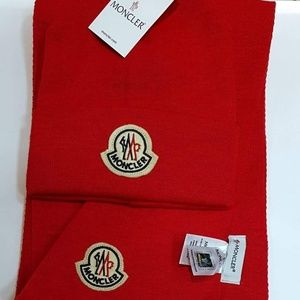 NWT MONCLER MEN'S HAT + SCARVES SET RED